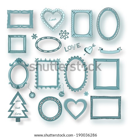 Set of 3D doodle frames and other elements  - stock photo