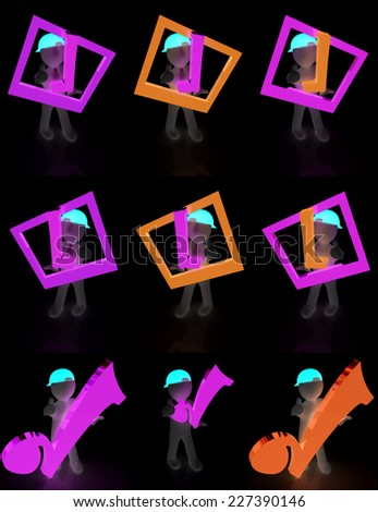 Set of 3d man in a peaked cap with thumb up and a huge tick on a black background - stock photo