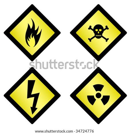 Set Danger Symbols On White Background Stock Illustration 34724776