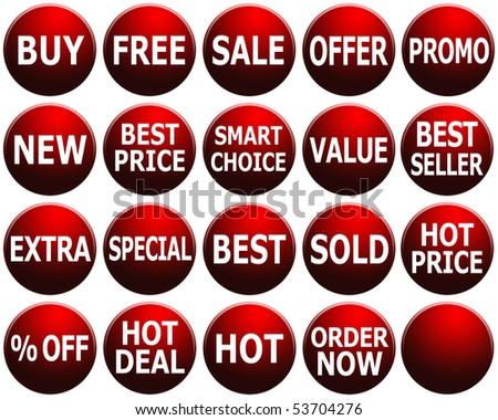 Set of dark red promotional symbols/icons. - stock photo