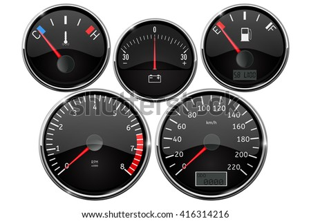 Set of dashboard measuring devices - fuel gauge, tachometer, speedometer, odometer. Illustration isolated on white background. Raster version