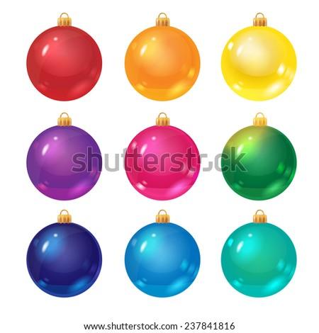 set of decorative christmas balls, isolated on white - stock photo