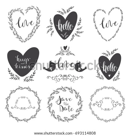 Set Of Decorative Design Elements Frames Hearts Embellishments Love Lettering Valentines Day