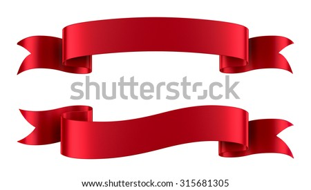 set decorative red ribbon banners isolated stock illustration