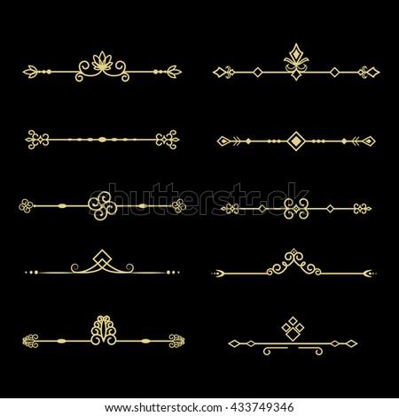 Set of decorative vintage elements. Golden dividers for your design. - stock photo