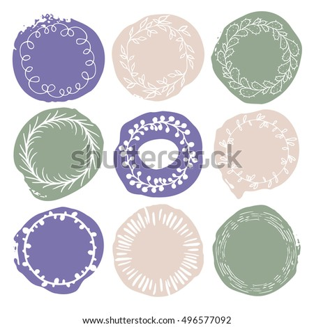 Set of 9 decorative wedding or romantic elements. Watercolour hand drawn circles with floral wreaths. Stylish templates. Trendy pastel beige, green and blue shapes with rough edges isolated on white