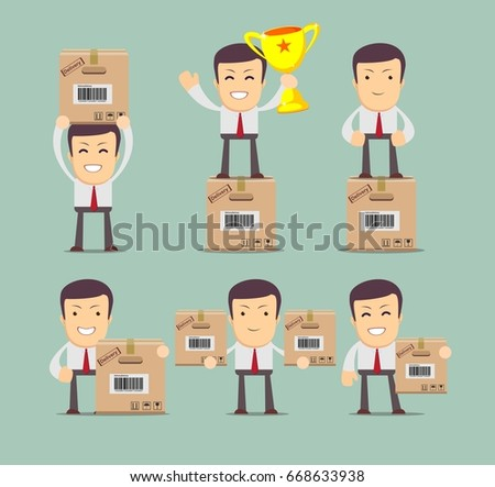 Set delivery service man box stock stock illustration 668633938 set of delivery service man with box stock collection illustration for poster greeting m4hsunfo Gallery