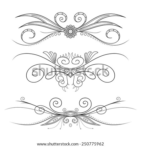 Set of Design Elements for Page Border. Frames and Scroll Elements - stock photo