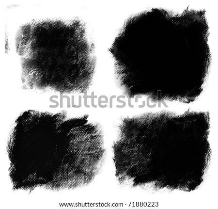 set of 4 detailed paint stains on canvas texture - stock photo