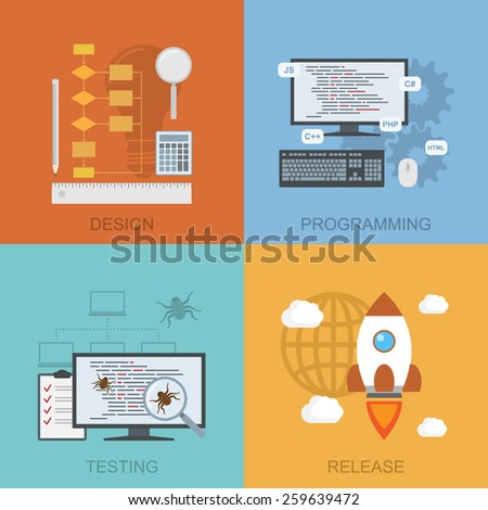 set of diagrams representing software lifecycle - design, programming, testing, release, flat style illustration - stock photo