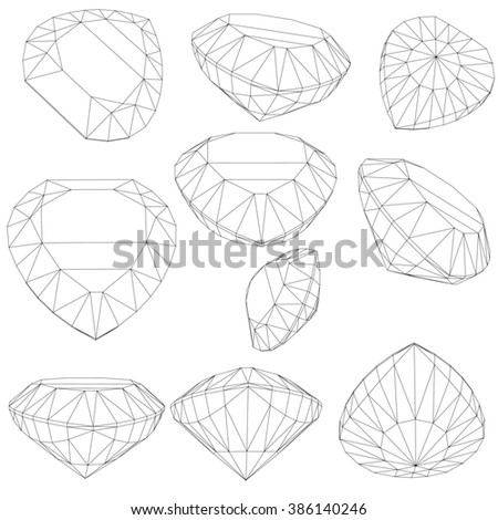 set of diamond design elements - cutting samples 1