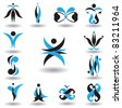 Set of different abstract elements for design for logo (raster version). - stock
