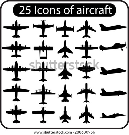 Set of different airplane icons. Raster version - stock photo