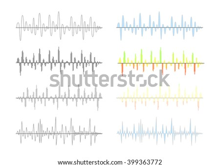 Set of different analog and digital signal waves graphs isolated on white - stock photo