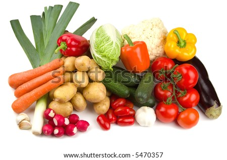 Set of different autumn vegetables - stock photo