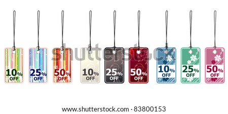 Set of different beautiful sale tags. Raster version. - stock photo