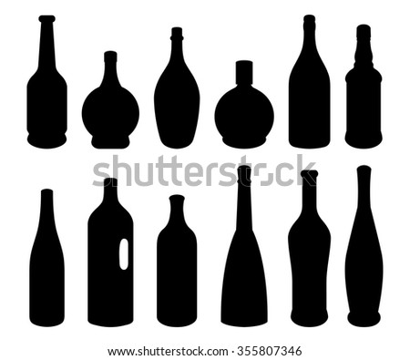 Set of different bottles isolated on white background. Black silhouettes.