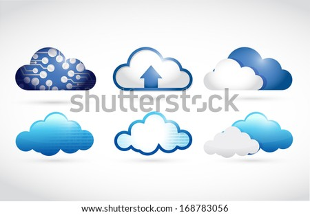 set of different clouds. cloud computing illustration over a white background