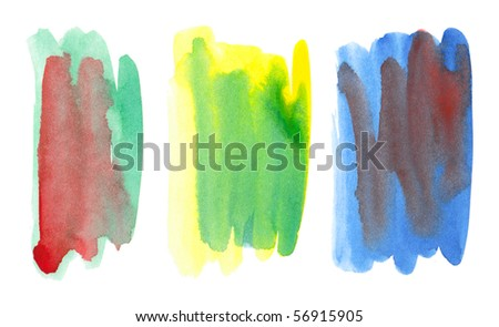 Set of different color brush strokes