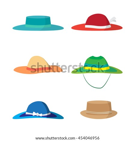 Set of different colored beach hats - stock photo