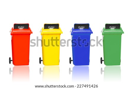 set of different colored wheelie bins of waste management concept isolated on black background with clipping path - stock photo