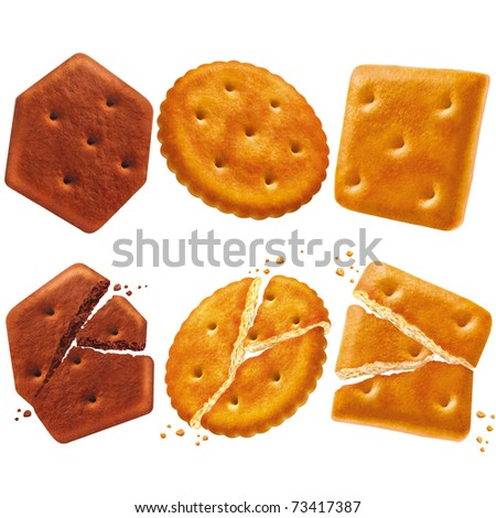 set of different crackers isolated on white background - stock photo