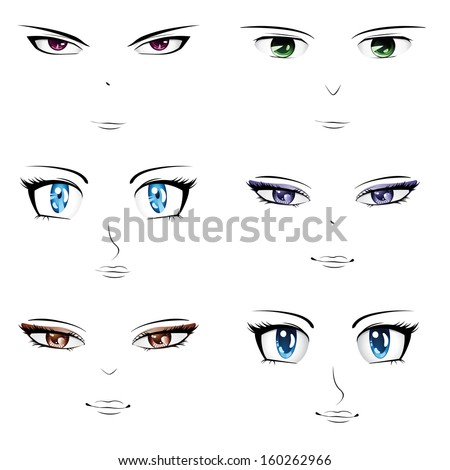 Set of different faces in manga, anime style. - stock photo