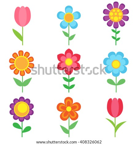 Set of different flowers. Bright and colorful flower icons - stock photo
