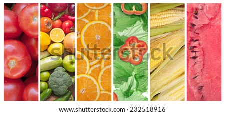 set of different fruits and vegetables - stock photo