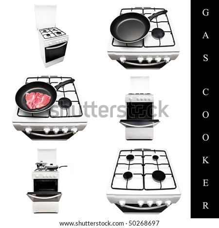 set of different gas cookers images over white background - stock photo