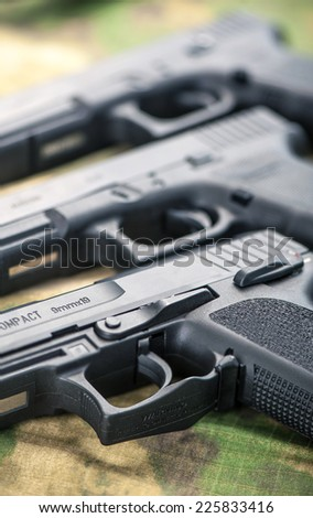 Set of different guns - stock photo