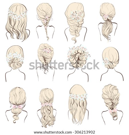 Set Different Hairstyles Wedding Hairstyles Hair Stock Illustration ...