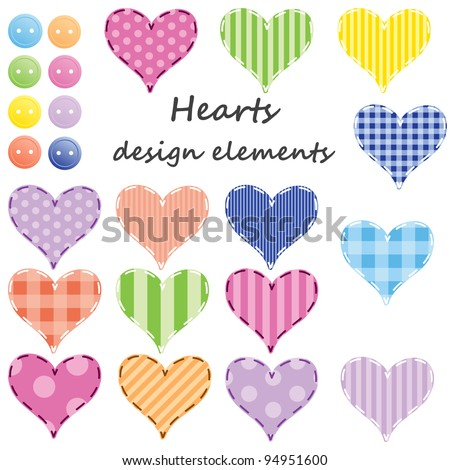 set of different hearts,  design elements. Raster version. - stock photo