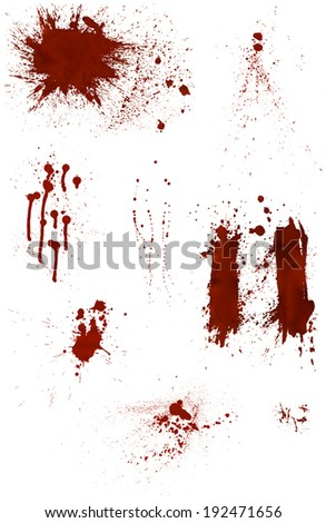Set of 9 different highly detailed bloodstains - stock photo