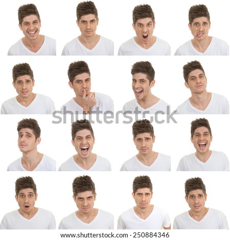 set of different male facial expressions - stock photo