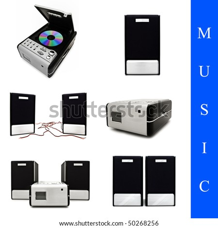 set of different music system images over white background - stock photo