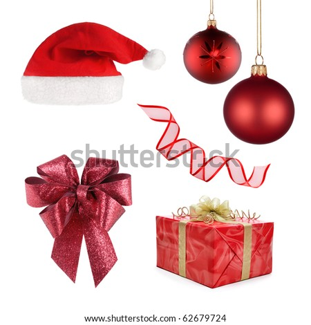 Set of different objects representing Christmas, all in red isolated on white - stock photo