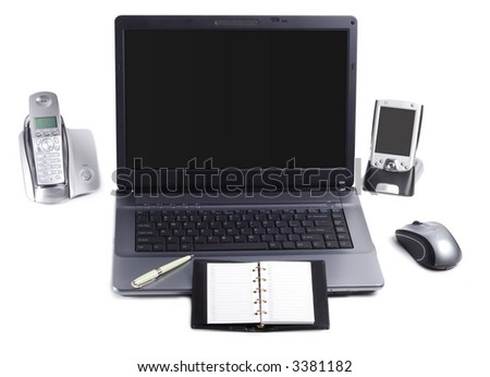 Set of different office accessories isolated over white background