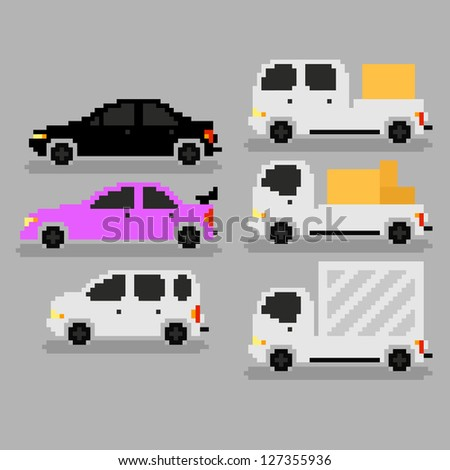Set of different pixel art cars, raster version - stock photo