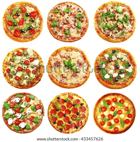Set of different pizzas isolated on white - stock photo