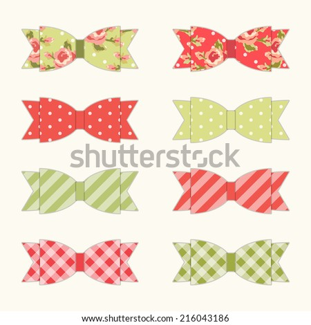 Set of 8 different retro fabric bows in shabby chic style for your decoration - stock photo