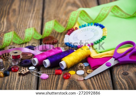 Set of different sewing accessories - sewing background - stock photo