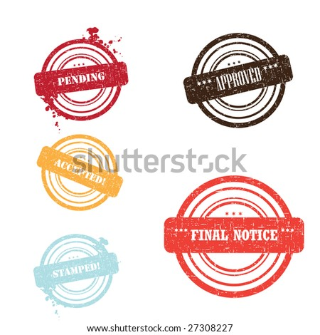 Set of different stamps and different colors isolated on white - stock photo