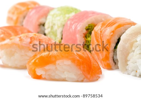 Set of different sushi cakes, over white