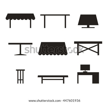 Set of different tables. Black contour silhouettes of furniture - stock photo