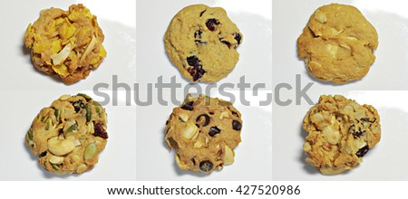 Set of different tasty cookies with black and white chocolate isolated on white background. - stock photo
