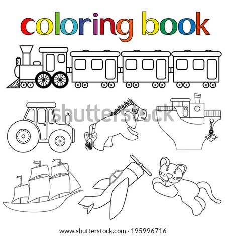 Set Of Different Toys For Coloring Book With Train Wagons Tractor Donkey