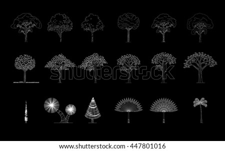 set of different trees, palm, pine...,