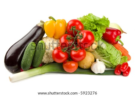 Set of different vegetables isolated on white - stock photo