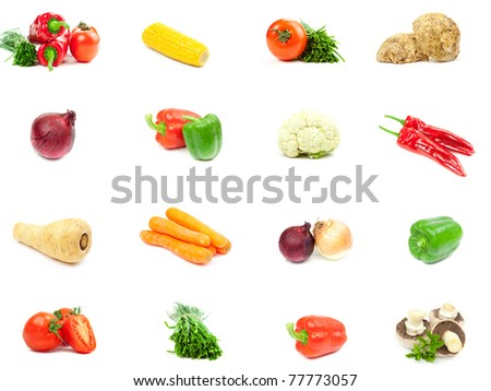 Set of different vegetables isolated on  white background - stock photo